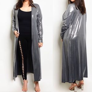 Metallic Shimmer Silver Plus Size Duster Cardigan